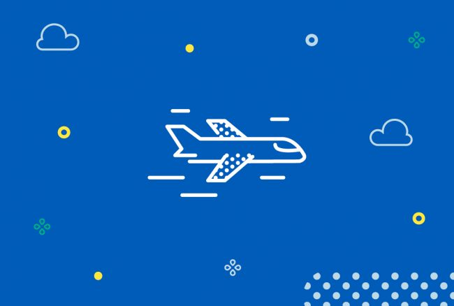 White plane illustration with blue background surrounded by cloud, dots and circle illustrations.